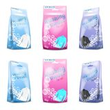 Vector realistic set of washing powder in sachet. Paper package for white, black, colored clothing. Template of opened, closed container, mock up for product Royalty Free Stock Photo