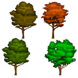 Vector Realistic Shady Tree Illustrations in Green and Orange Colors Stock Photo