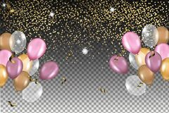 Vector realistic shiny air balloons with confetti. Glossy decoration for birthday, anniversary corporate events