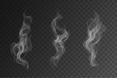 Vector realistic smoke or steam set isolated on dark background stock illustration