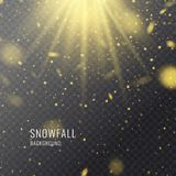 Vector realistic snowfall against a dark background. Transparent elements for winter cards. And poster vector illustration