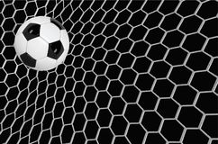 Vector Realistic soccer ball or football ball in net on black background. 3d Style vector Ball.  vector illustration