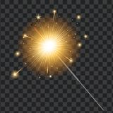 Vector realistic sparkler, transparent background. Vector realistic sparkler on transparent background illustration. Christmas, new year winter holiday Bengal Stock Photography