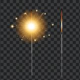 Vector realistic sparkler, transparent background. Vector realistic sparklers set on transparent background illustration. Christmas, new year winter holiday Stock Photos