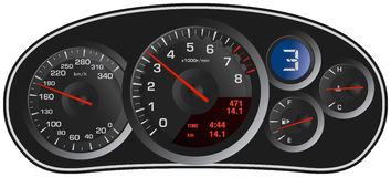 Vector realistic sport car's dashboard.  Royalty Free Stock Photo