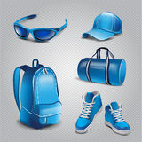 Vector realistic sport objects icons. Sneakers,sport bag, sport glasses, backpack, cap Royalty Free Illustration