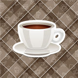 Vector realistic sticker icon with cup of coffee Royalty Free Stock Images