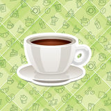 Vector realistic sticker icon with cup of coffee Stock Photography
