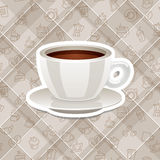 Vector realistic sticker icon with cup of coffee Royalty Free Stock Photo