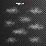 Vector realistic storm thick clouds of steam, vapour misty fog. Vector realistic 3d storm thick clouds of steam, vapour misty fog. grey Haze, ghost style Stock Photos