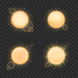 Vector realistic sun on plaid background. Nature light shine solar, sunny beam and glow, flare sunshine illustration vector illustration