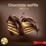 Waffle with chocolate filling wrapped in spiral melted chocolate Royalty Free Stock Photography