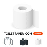 Vector realistic toilet paper icon in 3 styles. Stock Photography