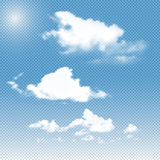 Vector realistic transparent clouds on sky background. Set of different fluffy  gradient mesh Royalty Free Stock Photos