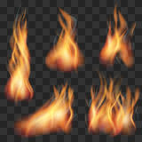 Vector realistic transparent fire flame set. Fire hot, flame fire, blaze fire illustration Stock Image