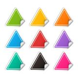Vector realistic triangle colorful Sticker set. Realistic template with curved corner isolated on a white background with shadow Royalty Free Stock Photo