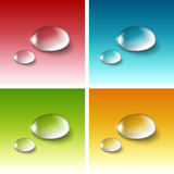 Vector Realistic Water Drops Set. On Red Blue Yellow Green White Background royalty free illustration