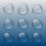Vector realistic water drops set Stock Photography