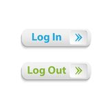 Vector realistic web login and log out buttons Royalty Free Stock Image