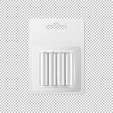 Vector realistic white alkaline AA batteries in blister packed icon set. Design template for branding, mockup. Closeup. Isolated on transparent background Royalty Free Stock Photo