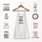 Vector realistic white cotton kitchen apron with clothes wooden hanger and quotes about food set closeup  on. White. Design template, mock up for branding Stock Images