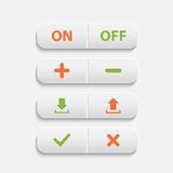 Vector realistic  white web buttons. On ,off,plus,minus, add, cancel, download and send the arrow marks,Yes, No checkmark over white Stock Photo
