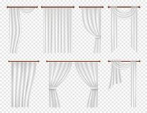 Vector realistic white window curtains and drapes set. Vector white window curtains and drapes set. Realistic illustration on transparent background Stock Photo