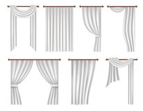 Vector realistic window curtains and drapes set. Vector window curtains and drapes set. Realistic illustration isolated on white background Royalty Free Stock Photos