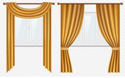 Vector realistic windows with curtains and drapes set. Vector set of white plastic windows with golden curtains. Realistic illustration isolated on transparent Stock Image