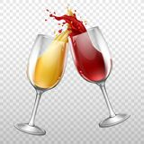 Vector realistic wine bottle, splashing in wineglass royalty free illustration