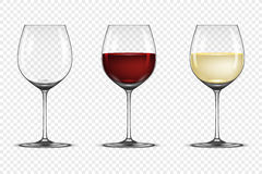 Vector realistic wineglass icon set - empty, with white and red wine, isolated on transparent background. Design Royalty Free Stock Photo