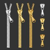 Vector realistic zippers type set Stock Photo
