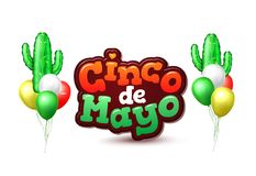 Vector realisticconco de mayo cactus balloon. Realistic cactus air balloons. Inflatable mexican festive element. Cinco de mayo holiday party celebration design Stock Photography