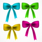 Vector realistick set of colorful  satin bow Royalty Free Stock Photo