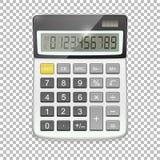Vector realistisch die calculatorpictogram op transparante achtergrond, ontwerpmalplaatje in EPS10 wordt geïsoleerd Stock Foto