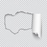 Vector realistisch die gat in Witboek met gerold rand en t wordt gescheurd Stock Foto