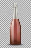 Vector Realistisch roze met zilveren gesloten die Champagne-fles op transparante achtergrond wordt geïsoleerd De spatie van het m Stock Foto's