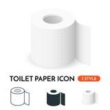 Vector realistisch toiletpapierpictogram in 3 stijlen Stock Fotografie