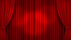Vector realistisch verlicht stadium met open rode fluweelgordijnen vector illustratie