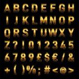 Vector realistische Buchstaben des Goldalphabet-3D und Zahl-sofortiges Download Vektor Abbildung