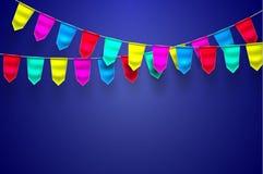Vector realistische bunting 3d vlagdecoratie Royalty-vrije Stock Foto
