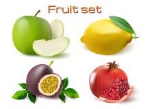 Vector realistische 3d fruitreeks Passionfruit, granaatappel, geïsoleerde citroenappel Stock Foto's