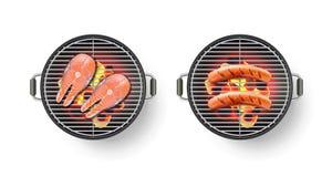 Vector realistische 3d illustratie van barbecuegrill met geroosterd worst en zalmlapje vlees BBQ hoogste meningspictogram Royalty-vrije Stock Foto
