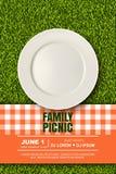 Vector realistische 3d illustratie van plaat, rode plaid op groen grasgazon Picknick in park Banner, het malplaatje van het affic vector illustratie