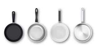 Vector realistische 3d lege zwart, zilveren, non-stick, email, wit die de panpictogram van de dekkingsoppervlakte in hoogste geïs stock illustratie