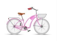 Vector realistische geïsoleerd 3d van de meisjes roze fiets Stock Fotografie