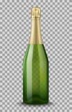 Vector Realistische groen met gouden gesloten die Champagne-fles op transparante achtergrond wordt geïsoleerd De spatie van het m Stock Foto