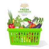 vector realistische illustratie Kleurrijke verse organische groenten en kruiden in groene die het winkelen mand op witte achtergr Royalty-vrije Stock Afbeeldingen