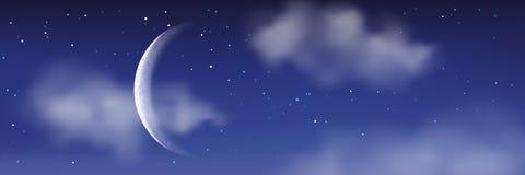 Vector realistische illustratie van nacht cloudscape Maan, sterren, wolken op blauwe hemel Romantische landschapsachtergrond Stock Afbeeldingen