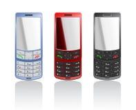 Vector realistische kleuren mobiele telefoons Royalty-vrije Stock Afbeeldingen